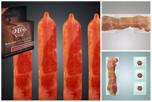 Bacon-Flavoured Condoms with Bacon Printed